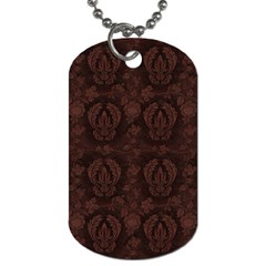 Leaf Pattern Green Wallpaper Tea Leather Dog Tag (two Sides)
