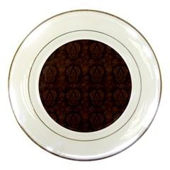 Leaf Pattern Green Wallpaper Tea Leather Porcelain Plates