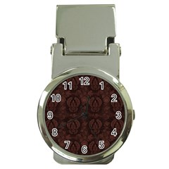 Leaf Pattern Green Wallpaper Tea Leather Money Clip Watches