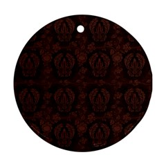 Leaf Pattern Green Wallpaper Tea Leather Round Ornament (Two Sides)