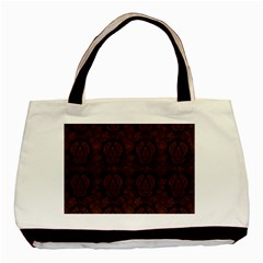 Leaf Pattern Green Wallpaper Tea Leather Basic Tote Bag (Two Sides)