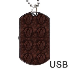 Leaf Pattern Green Wallpaper Tea Leather Dog Tag Usb Flash (two Sides)