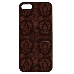Leaf Pattern Green Wallpaper Tea Leather Apple iPhone 5 Hardshell Case with Stand