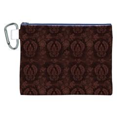 Leaf Pattern Green Wallpaper Tea Leather Canvas Cosmetic Bag (XXL)