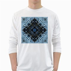 Jeans Background White Long Sleeve T-Shirts