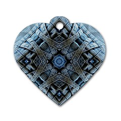 Jeans Background Dog Tag Heart (Two Sides)