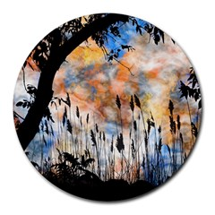 Landscape Sunset Sky Summer Round Mousepads