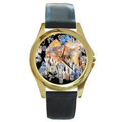 Landscape Sunset Sky Summer Round Gold Metal Watch