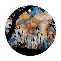 Landscape Sunset Sky Summer Round Ornament (Two Sides)