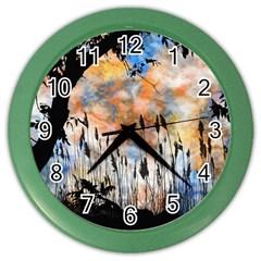 Landscape Sunset Sky Summer Color Wall Clocks