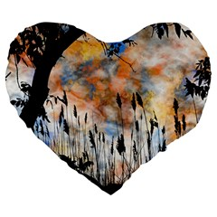 Landscape Sunset Sky Summer Large 19  Premium Heart Shape Cushions
