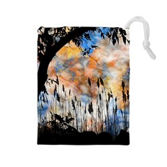 Landscape Sunset Sky Summer Drawstring Pouches (large)