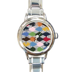 Leather Colorful Diamond Design Round Italian Charm Watch