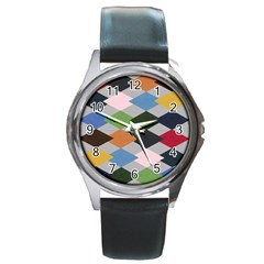 Leather Colorful Diamond Design Round Metal Watch