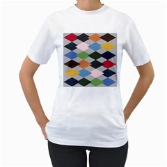 Leather Colorful Diamond Design Women s T-Shirt (White) (Two Sided)