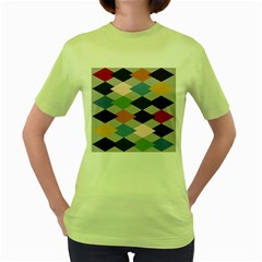 Leather Colorful Diamond Design Women s Green T-Shirt