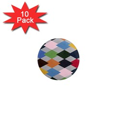 Leather Colorful Diamond Design 1  Mini Magnet (10 pack)