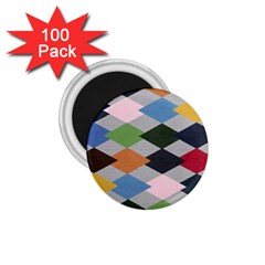 Leather Colorful Diamond Design 1 75  Magnets (100 Pack)