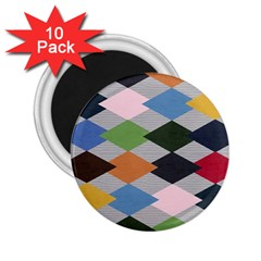 Leather Colorful Diamond Design 2 25  Magnets (10 Pack)
