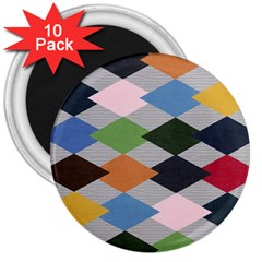 Leather Colorful Diamond Design 3  Magnets (10 pack)
