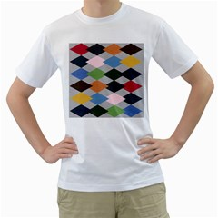 Leather Colorful Diamond Design Men s T-Shirt (White) (Two Sided)