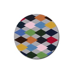 Leather Colorful Diamond Design Rubber Round Coaster (4 pack)