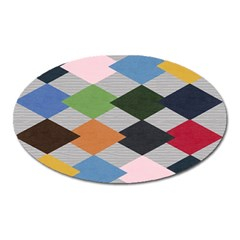 Leather Colorful Diamond Design Oval Magnet