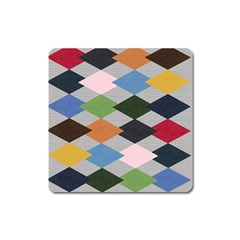 Leather Colorful Diamond Design Square Magnet