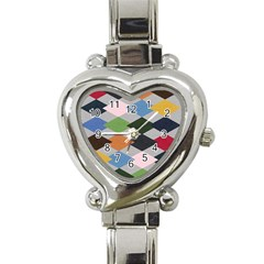 Leather Colorful Diamond Design Heart Italian Charm Watch