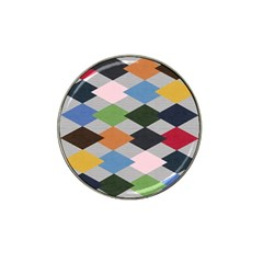 Leather Colorful Diamond Design Hat Clip Ball Marker (4 pack)