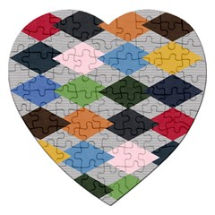 Leather Colorful Diamond Design Jigsaw Puzzle (Heart)
