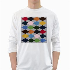 Leather Colorful Diamond Design White Long Sleeve T-Shirts
