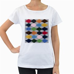 Leather Colorful Diamond Design Women s Loose Fit T Shirt (white)