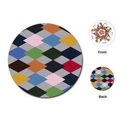 Leather Colorful Diamond Design Playing Cards (Round)