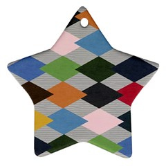 Leather Colorful Diamond Design Star Ornament (Two Sides)