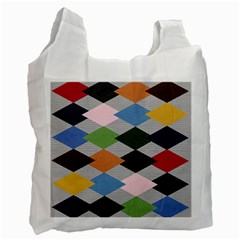 Leather Colorful Diamond Design Recycle Bag (two Side)