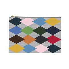 Leather Colorful Diamond Design Cosmetic Bag (large)