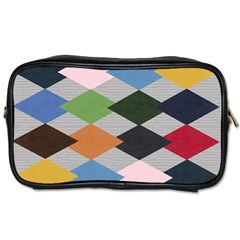 Leather Colorful Diamond Design Toiletries Bags 2-Side
