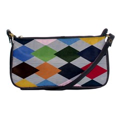 Leather Colorful Diamond Design Shoulder Clutch Bags