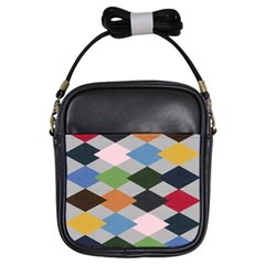 Leather Colorful Diamond Design Girls Sling Bags
