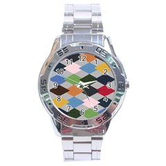 Leather Colorful Diamond Design Stainless Steel Analogue Watch