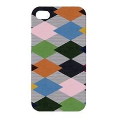 Leather Colorful Diamond Design Apple iPhone 4/4S Hardshell Case