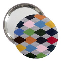 Leather Colorful Diamond Design 3  Handbag Mirrors