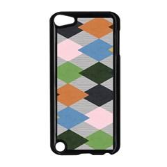 Leather Colorful Diamond Design Apple iPod Touch 5 Case (Black)