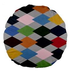 Leather Colorful Diamond Design Large 18  Premium Round Cushions