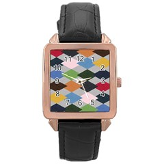 Leather Colorful Diamond Design Rose Gold Leather Watch