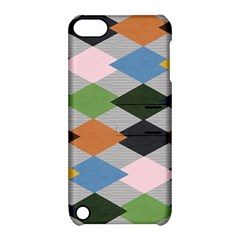 Leather Colorful Diamond Design Apple Ipod Touch 5 Hardshell Case With Stand
