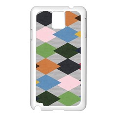 Leather Colorful Diamond Design Samsung Galaxy Note 3 N9005 Case (white)