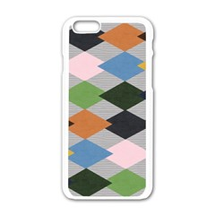 Leather Colorful Diamond Design Apple Iphone 6/6s White Enamel Case