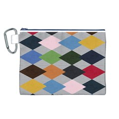 Leather Colorful Diamond Design Canvas Cosmetic Bag (L)